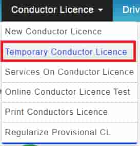 Apply for temporary conductor Licence in Sarthi Parivahan Portal