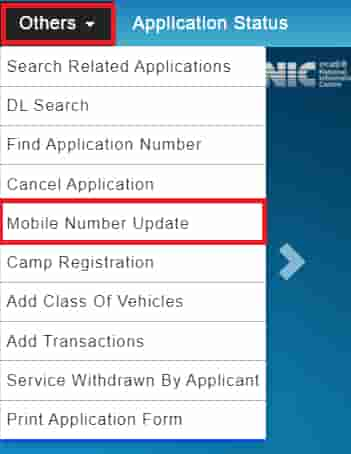 Change Mobile number in Driving Licence