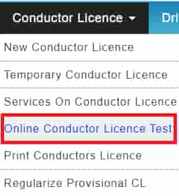Online conducter Licence test
